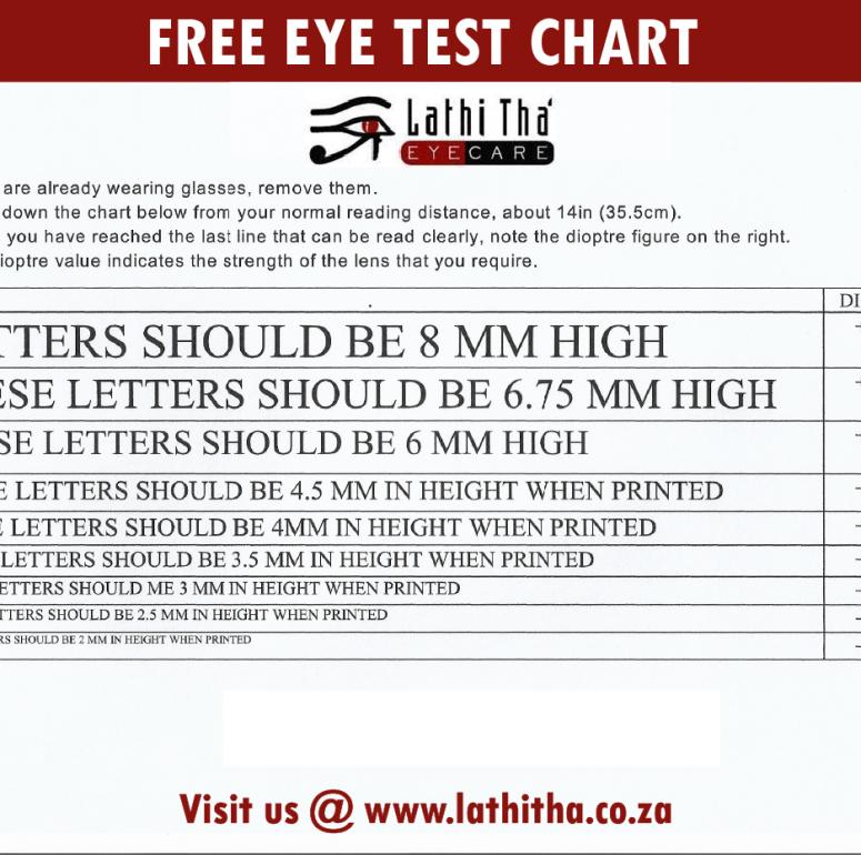 Free Eye Test Chart